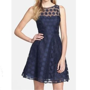 Betsey Johnson 2 Navy Blue Mesh Fit & Flare Dress